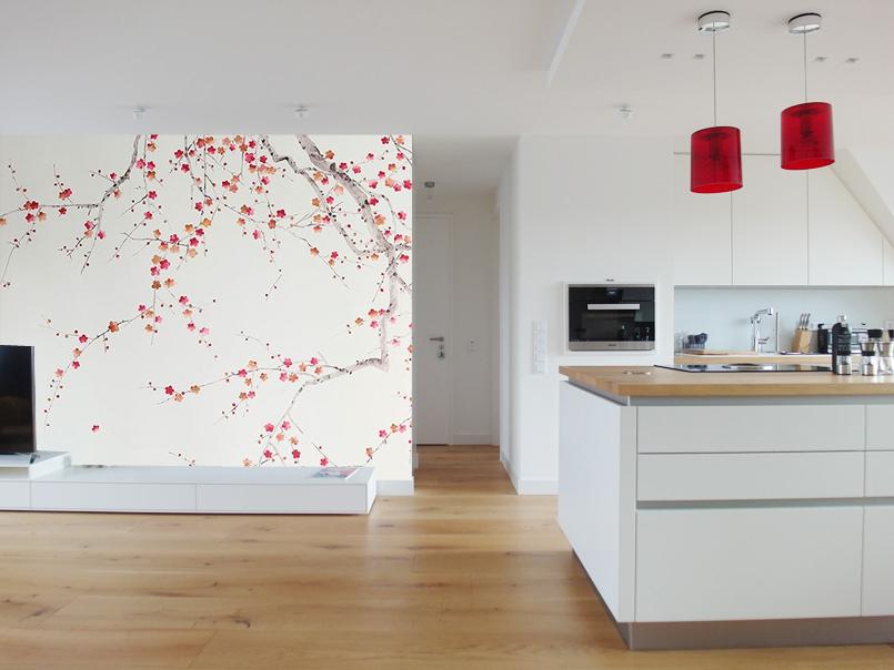 Florale Tapete in Wohnküche